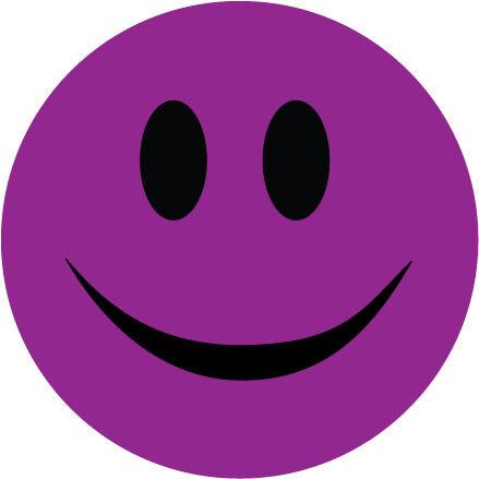Humour autocollant en vinyle Autocollant Smiley Face-Violet-Nouveauté 10 cm x 10 cm