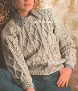 aa0dc87c71823 Image is loading Womans-Ladies-Diamonds-Cables-amp-Twigs-Aran-Sweater-