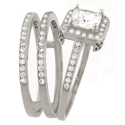 Details about  /Sterling Silver .925 CZ Princess Cut Halo Engagement Wedding Ring Set Size 5-9