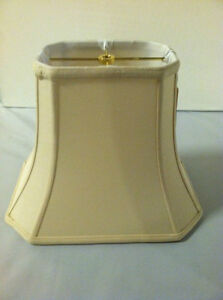 "18"" BEIGE Lampshade Rectangular Cut-Corner Light Lamp Shade Shantung Silk 18"""