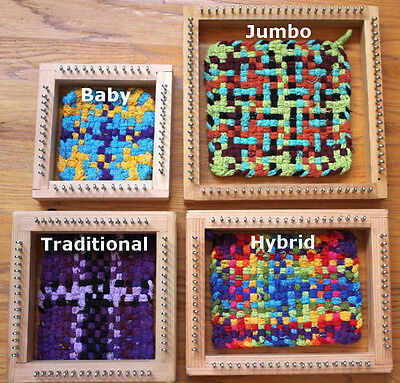 Handmade wooden potholder, coaster loom kits with colorful cotton loops, 4 sizes