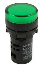Piloto Verde Luz LED indicador de 22mm Lámpara de Advertencia 220V Montaje en Panel