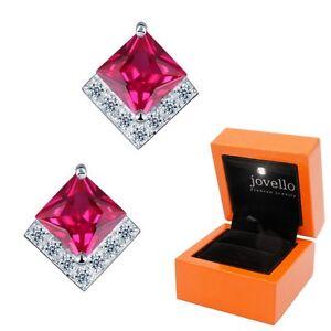 Roter-Zirkonia-rot-Ohrstecker-Ohrstick-aus-925-Silber-Luxus-LED-Schmuckbox