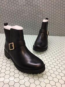 Women-Vionic-Mystic-Mara-Black-Leather-Moto-Monk-Strap-Ankle-Boots-Sz-9-5M