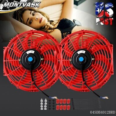 "2 X UNIVERSAL 7/"" PULL//PUSH ELECTRIC RADIATOR COOLING FAN+MOUNTING//MOUNT KIT RED"