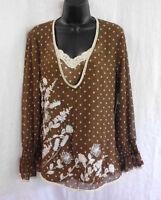 Kaelyn Max Blouse & Tank Size M Brown White Polyester Crochet & Beads