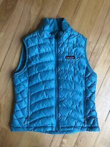 PATAGONIA-Teal-Blue-Goosedown-Puffer-Vest-Women-039-s-Size-S