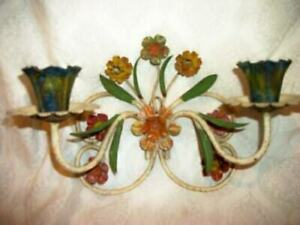 ITALIAN TOLE FLOWERS CANDLE SCONCE ORIGINAL FINISH CHIPPY FRENCH FARMHOUSE 1930s