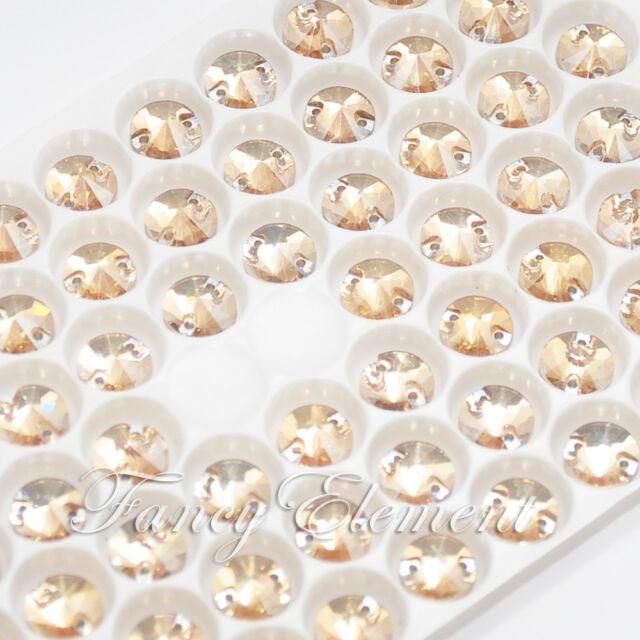 72pcs 8mm Golden Shadow Glass Rivoli Round Crystal Flat Back Sew On Rhinestones