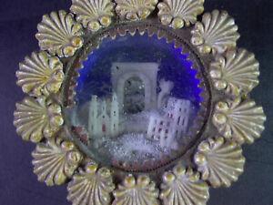 altes religiöses MINIATUR DIORAMA - Jerusalem & westliche Kirche & Madonna