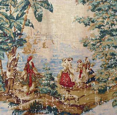 Drapery Upholstery Fabric Preshrunk Fabric Protected Toile - Vintage Linen #128