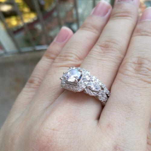 Bridal Wedding Engagement Ring Set For Women 2.40 Ct Round White Cz Blue Sz 5-12