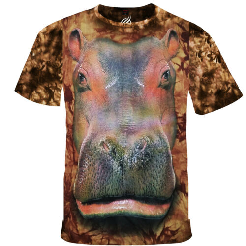 Obscenely Large Hippo Face Full Frontal Print Safari Themed Fabric Shirt RM12T