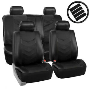 Black-PU-Faux-Leather-Car-Seat-Cover-Set-Headrests-Steering-Wheel-Full-Set