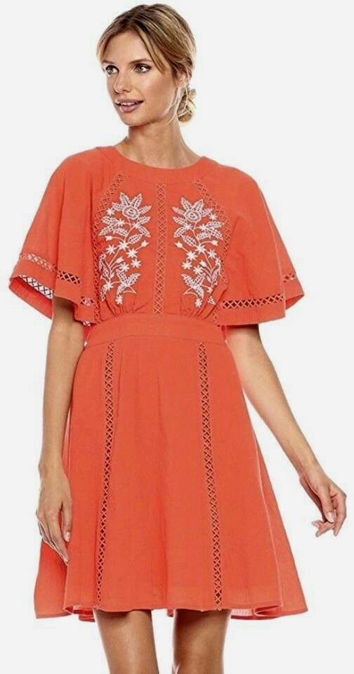 Nanette Lepore Calypso Woherren Dress Orange Embroiderot Kimono 12 NWT  C0