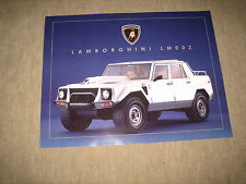 Lamborghini LM 002 Prospekt Blatt single sheet Brochure Prospetto von 198?