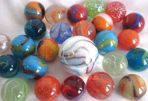 25-MIXED-ASSORTMENT-Game-Marbles-shooter-red-blue-yellow-orange-glass-swirl-lot