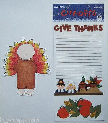 2 Pc THANKSGIVING Embellishment Set TURKEY BOY & GIVE THANKS Cut-Offs EK Success
