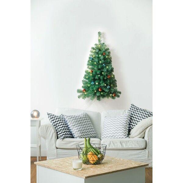 Slim Christmas Tree.Christmas Tree 3ft Pre Lit 50 Lights Wall Mount Slim Xmas Half Tree Small