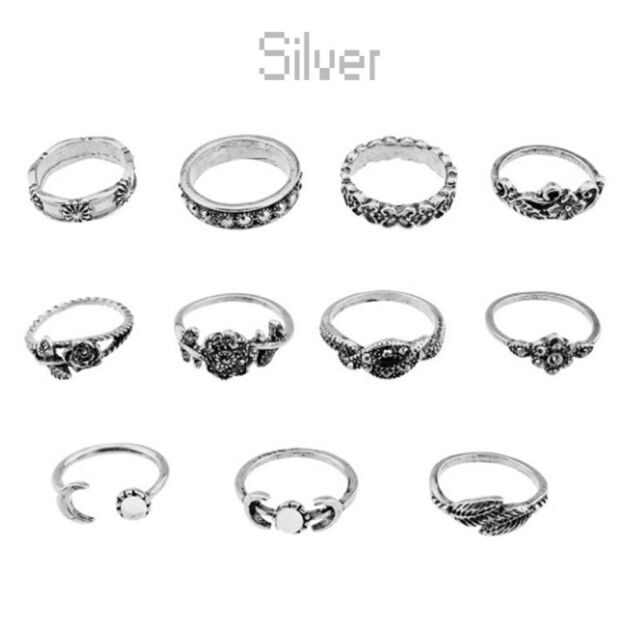 New wholesale jewelry lots 11pcs fashion stainless steel rings free shipping