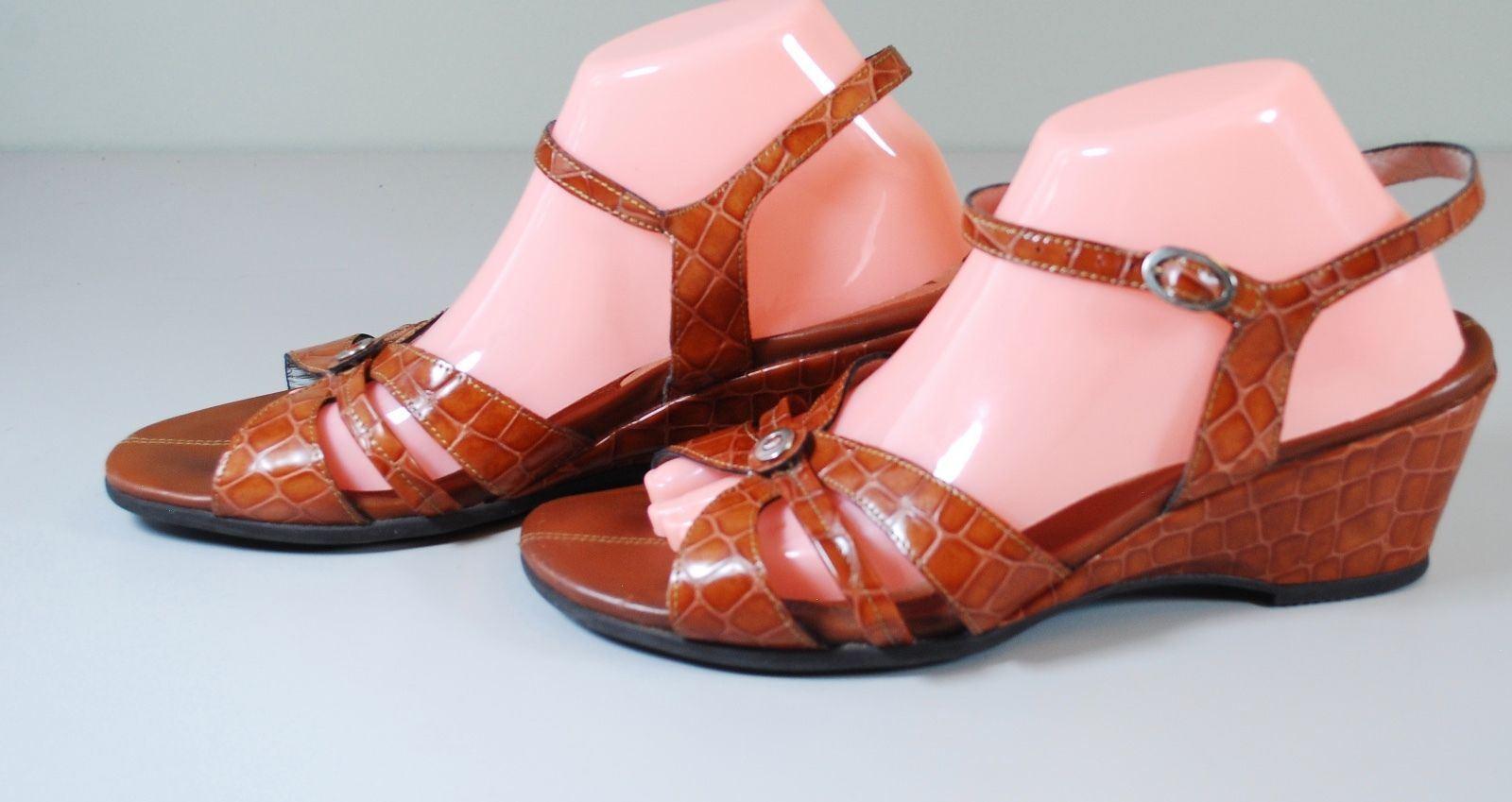 Mephisto Cocodrilo Cuero Correa De Tobillo Sandalias Cuña Tacones Zapatos nos 11.5