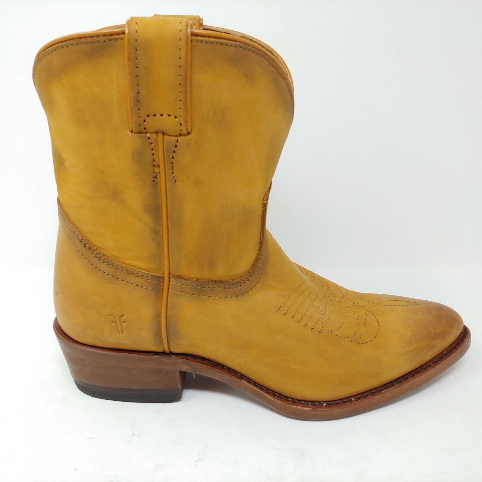 Frye Billy Short Western Boots Cognac Leather Distressed Cowboy MSRP  288 Size 6