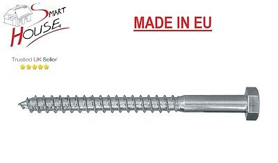 Madera Tornillo-todas las longitudes Zinc M10//10 Mm-entrenador Tornillo Cabeza Hexagonal Heavy Duty