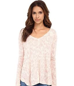 912950d0356 NWT Free People Sahara Print Top Tee Shirt Blouse Pink Ivory Combo ...