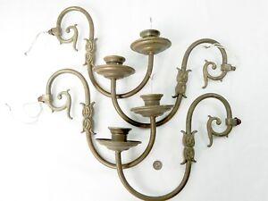 Set 4 antique vintage brass chandelier or sconce arms with bobeche image is loading set 4 antique vintage brass chandelier or sconce aloadofball Choice Image