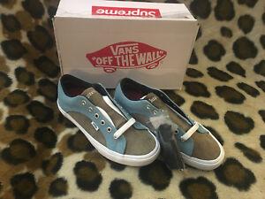 ad959f62a3 New Supreme X Vans croc corduroy Lampin mens Size 8 blue brown SS18 ...