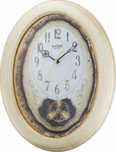 Musical Motion Christmas Wall Clock by Rhythm 4MJ414WU03 'VINTAGE COTTAGE'