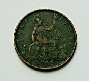 1875H-UK-British-Victoria-Coin-Half-Penny-1-2d-surface-corrosion-pitting