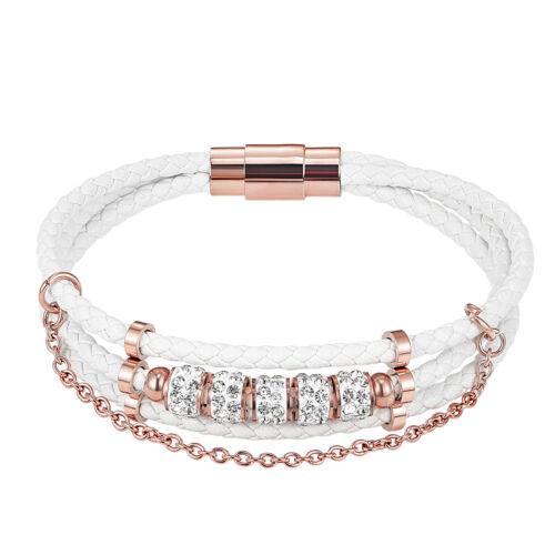 White Leather Braided Bracelet Rose Gold Finish Simulated Diamonds Custom Style
