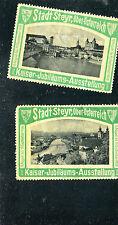 Vintage Poster Stamp Label pair KAISER JUBILAUMS AUSSTELLUNG Ober Osterreich