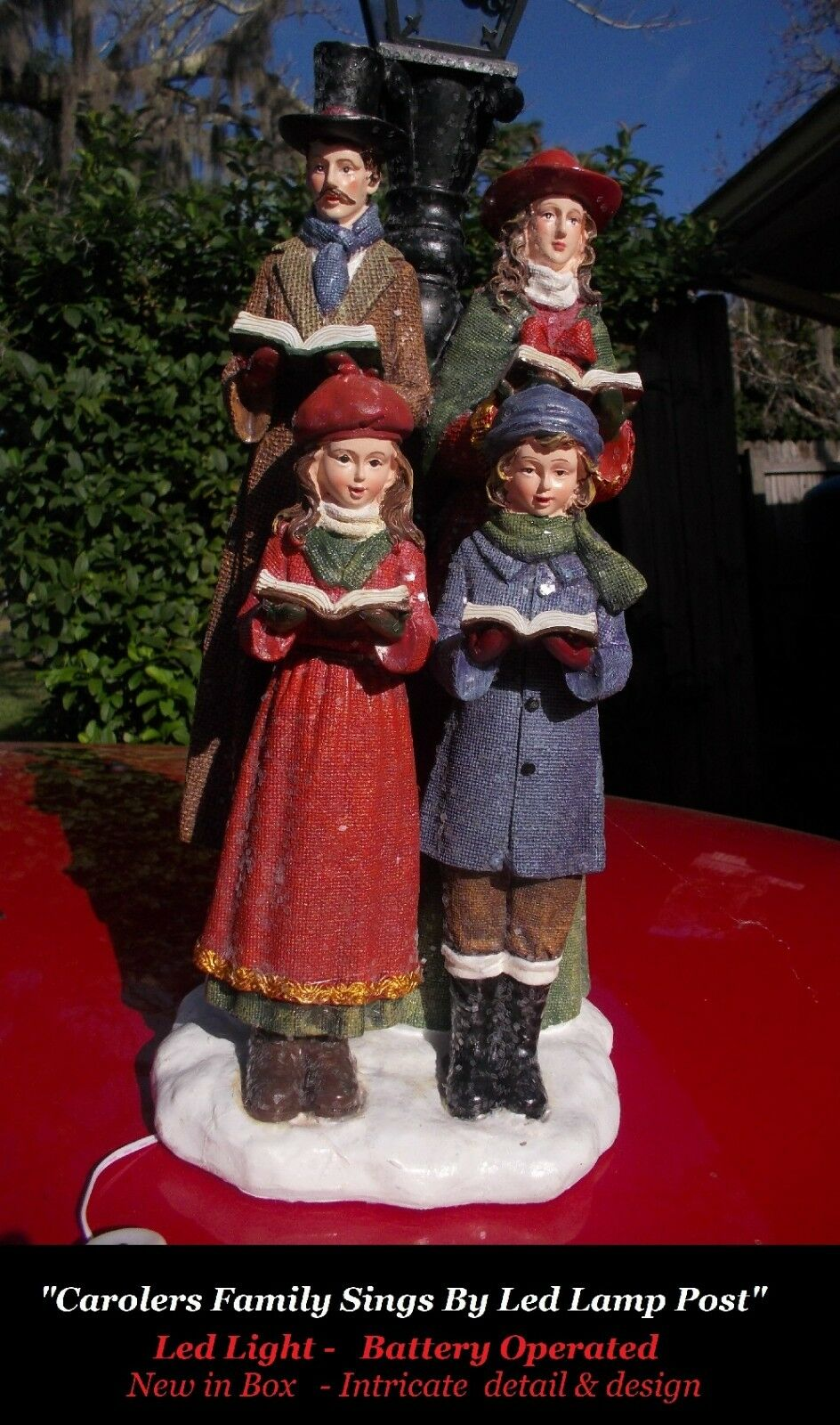 Old Old Old World Victorian Christmas Carolers Family Sings By Led Lamp Post Statue  B O ff4fe1