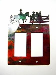 Cowboys on Fence Double Rocker Outlet Cover Plate by Steel Images