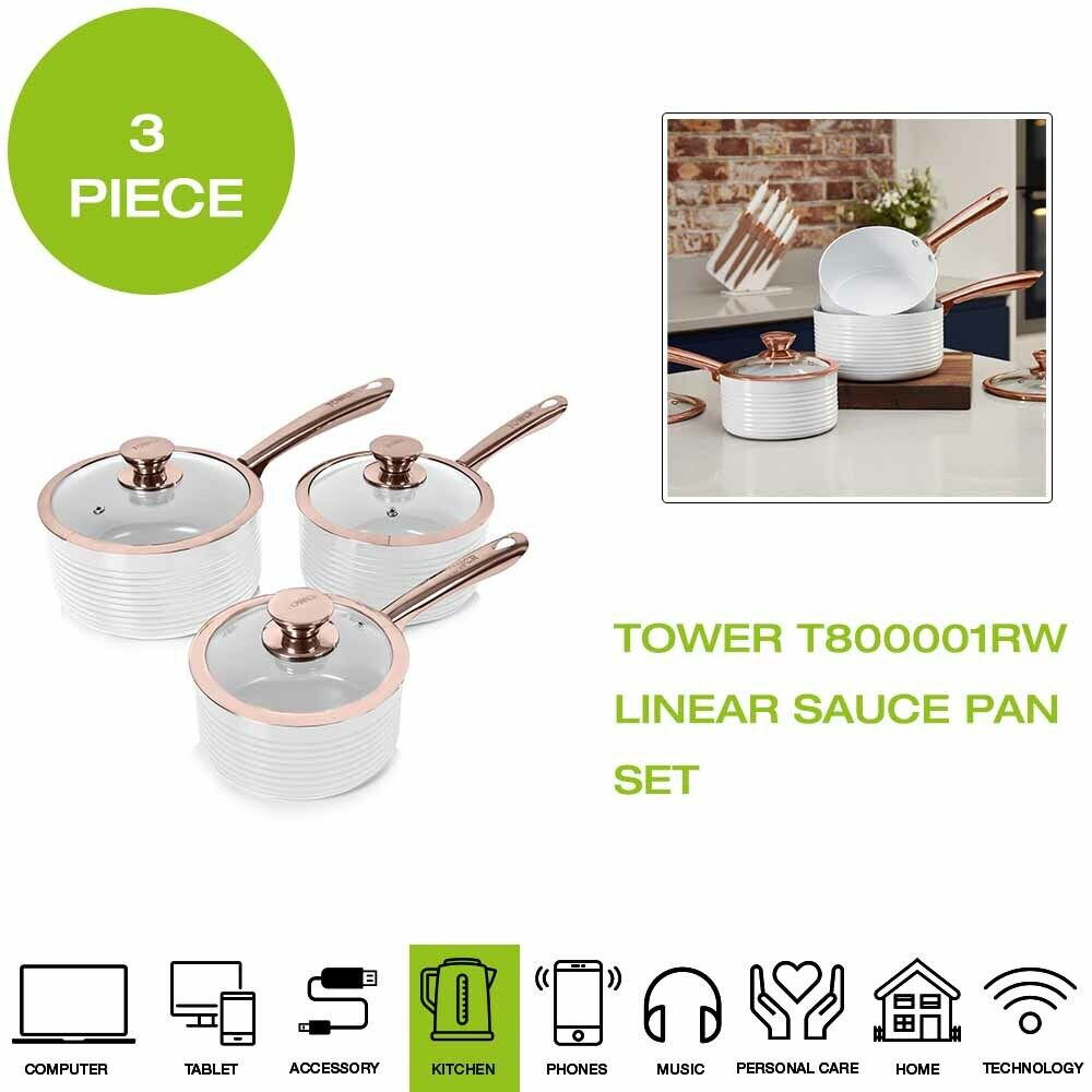 Brand New Tower T800001RW Linear Sauce Pan Set, 3 Piece - White pink gold