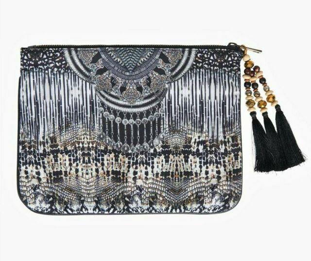 TS TAKING SHAPE Animal Print Clutch carry bag handbag decorative tassel zip NWT!