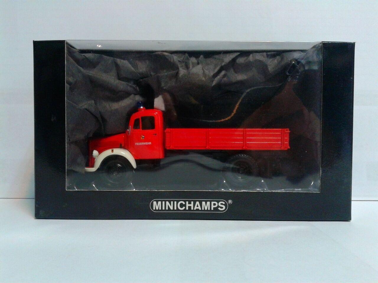 Minichamps Mercedes Benz L3500K Kipper Feuerwehr Pforzheim L E 1 1.008 1 43