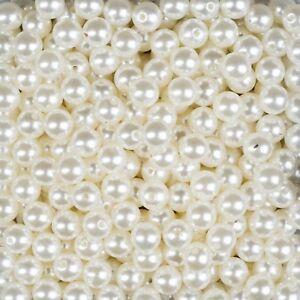 500 Perlen perlmutt weiß Hochzeit Wachsperlen 6mm Perle mit Loch Deko
