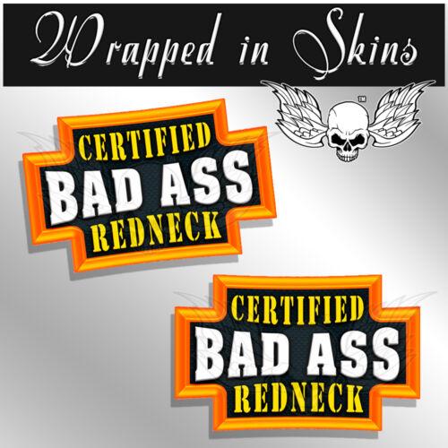 2 PACK REDNECK Certified Bad Ass Hard Hat Decals Funny Helmet Stickers