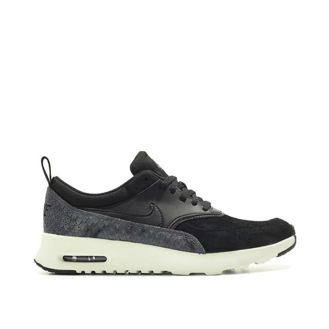 detailing 1bd75 db34b Womens NIKE AIR MAX THEA PRM Black Leather Trainers 616723 019