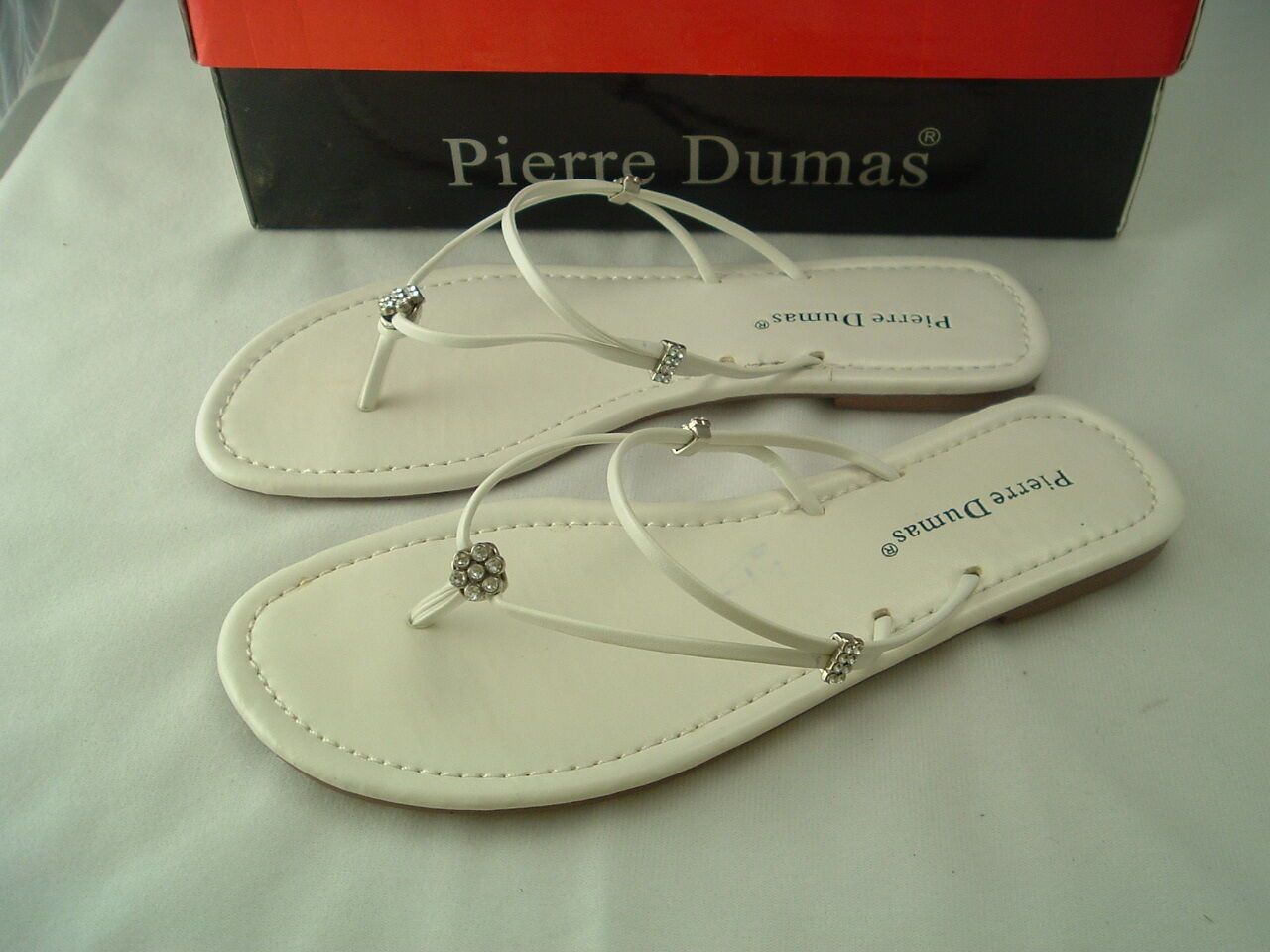 Woman's White Sandals w/Delicate Straps by Shipping Pierre Dumas