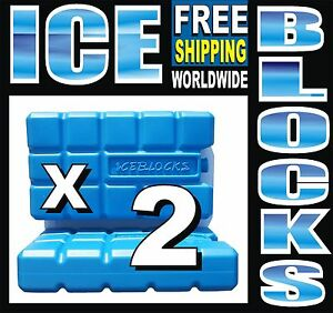 2-BLUE-ICE-PACKS-For-FREEZING-FREEZER-ICE-BLOCK-COOLERS