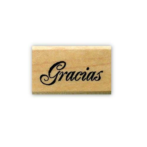 Spanish thank you mounted rubber stamp #21 Gracias