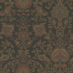 Wallpaper-Van-Luit-Black-Brown-Red-Green-Navy-Jacobean-Floral-Faux-Tapestry