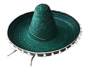 8e945699 LARGE TALL MEXICAN GREEN STRAW SOMBRERO HAT WITH HANGING TASSELS ...