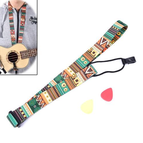 Einstellbare Nylon Druck Stil Ukulele Strap Ukulele Gitarre Zubehör 4H
