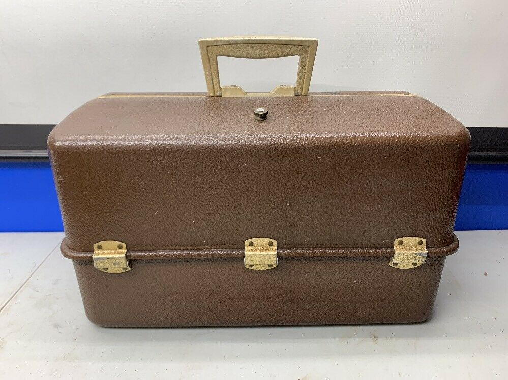 (F) VINTAGE UMCO Large  BROWN TACKLE BOX~~2080U