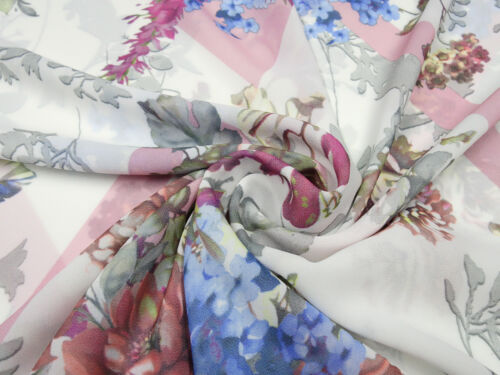 Stoff Blusenstoff Chiffon Blumen ecrú rosa blau grün bunt Kleiderstoff